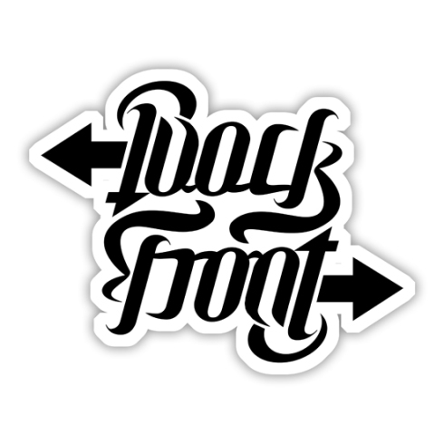 """Back / Front"", rotational ambigram"